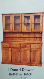 4 door 4 drawer buffet and hutch