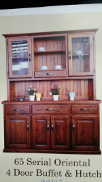 Serial oriental 4 door buffet and hutch